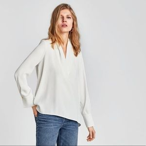 ZARA Shirt with Draped Neckline XS